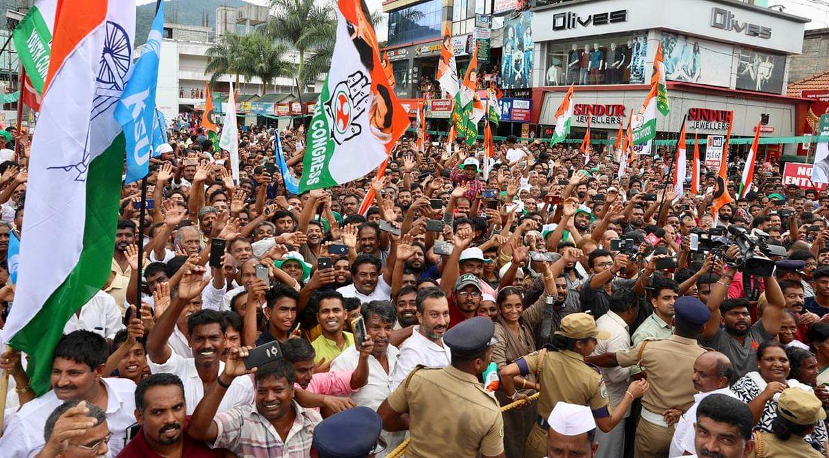 A huge crowd gathered at Rahul Gandhi's roadshow