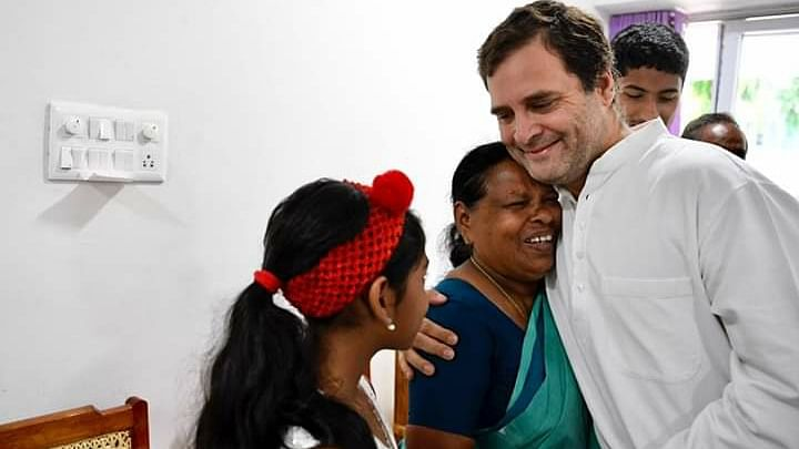 In an emotional reunion, Rahul Gandhi hugs Rajamma, his delivery nurse, who is now settled in Wayanad in Kerala post her retirement.