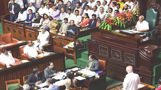 A file photo of Karnataka Legislative Assembly with Speaker K.R. Ramesh Kumar presiding over the proceedings. Chief Minister H.D. Kumaraswamy is also in his seat.