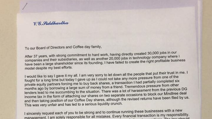 'Missing' Cafe Coffee Day founder's letter sends shock waves through business and Income Tax circles