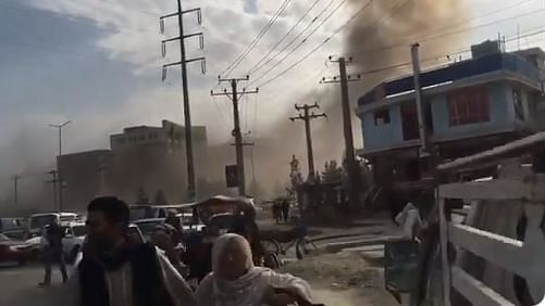 Images showed plumes of smoke over Kabul as people ran to safety.