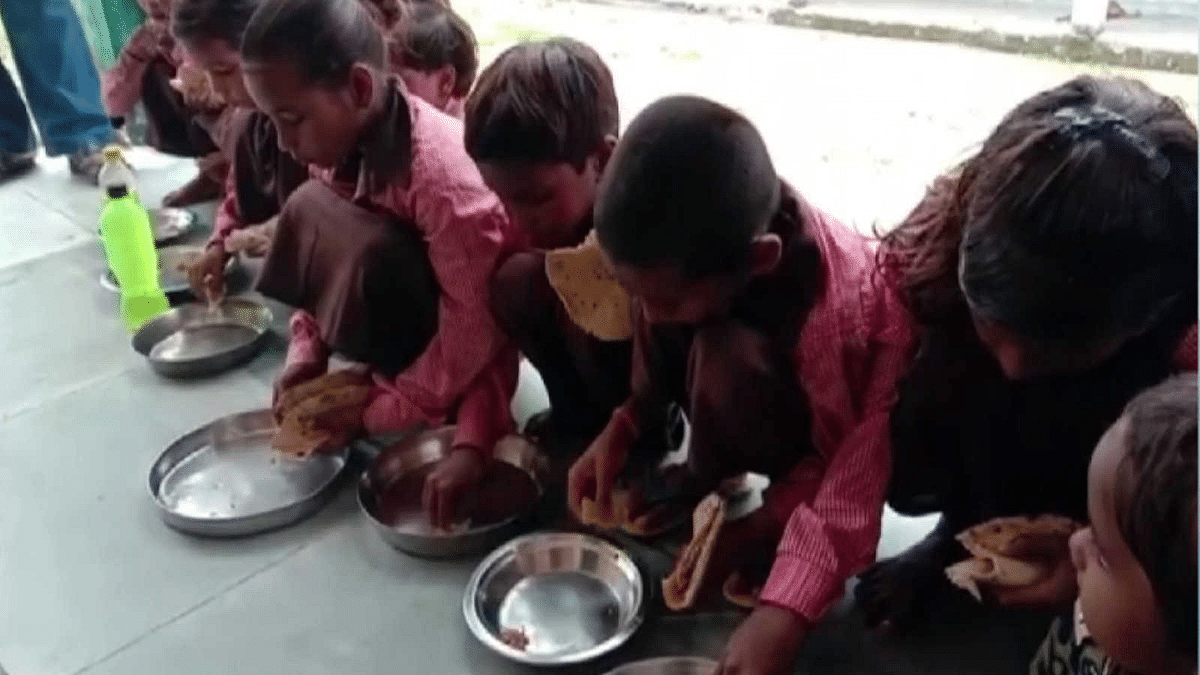 WATCH : UP government school students served Roti-Salt in mid day meal