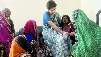Priyanka Gandhi visits Sonbhadra village, speaks with bereaved families