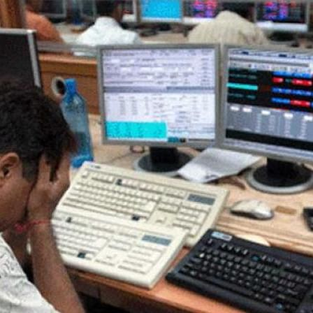 A stock broker mourns as the market crashes (PTI file photo)