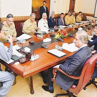 Pakistan PM Imran Khan chairs the National Security Committee (NSC) meet. (file photo)