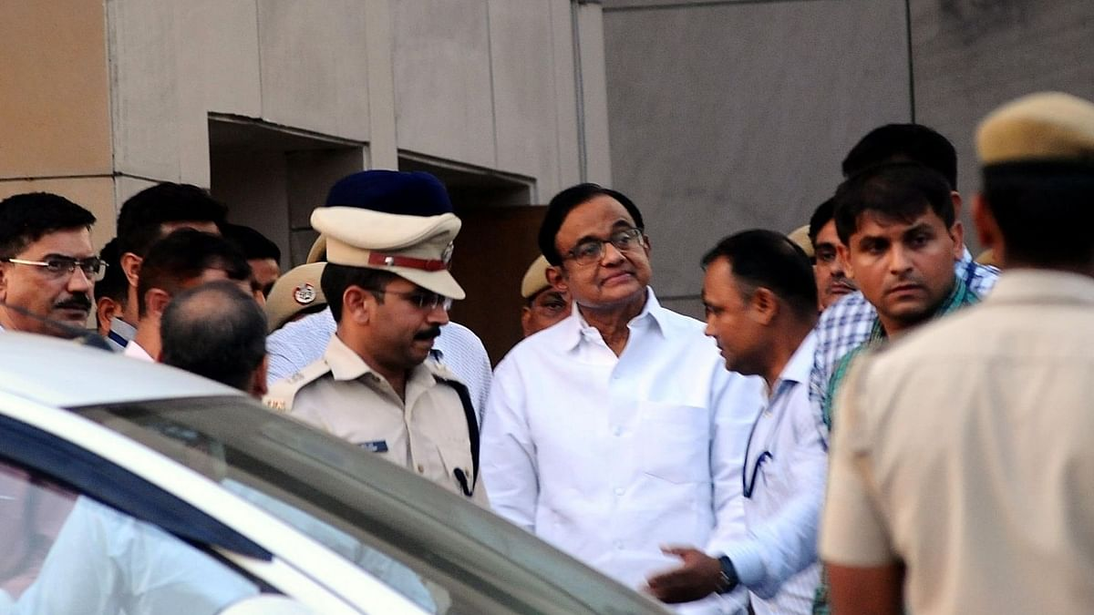 Former Finance Minister P. Chidambaram at Rouse Avenue court complex in New Delhi (IANS photo).