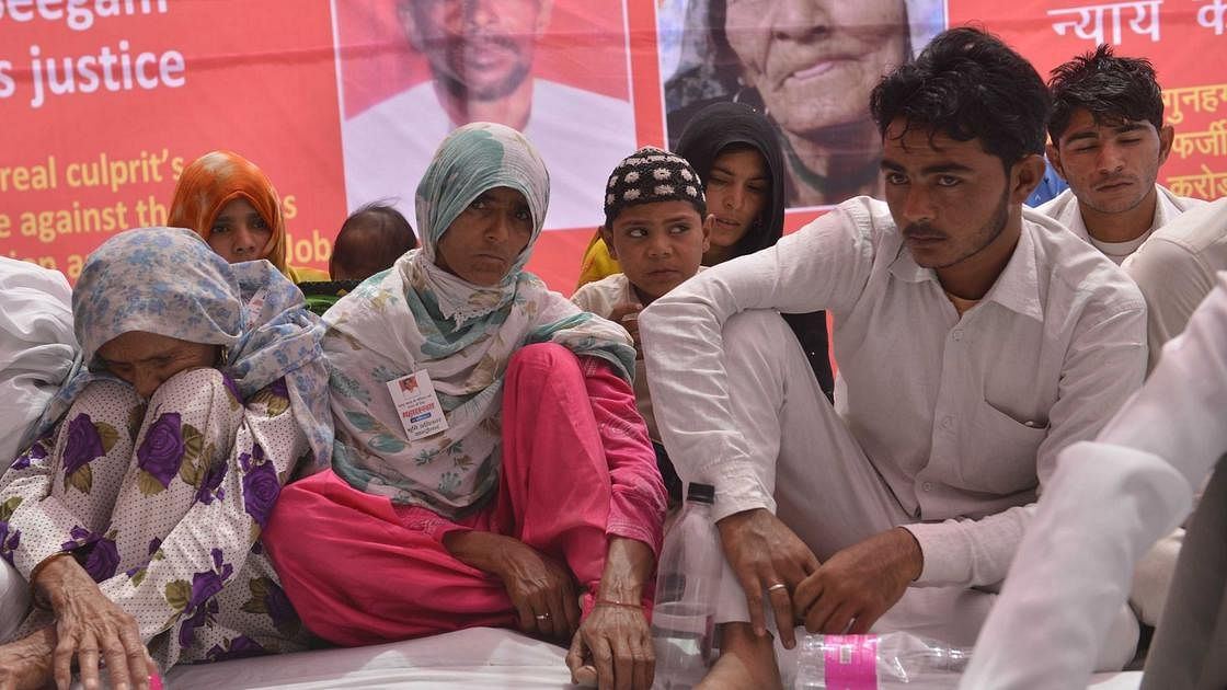 Pehlu Khan's son Irshad (extreme right) and other family members staging a dharna at Jantar Mantar in New Delhi demanding justice for the slain dairy farmer (PTI file photo).