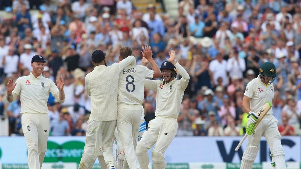 England's Stuart Broad celebrates fall of a wicket during the 1st Test of ICC World Test Championship between Australia and England at Edgbaston Stadium in Birmingham, England on Aug 1, 2019 (IANS Photo)