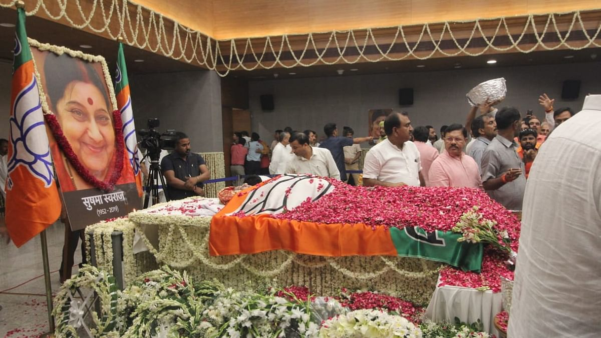 Former Union Minister Sushma Swaraj cremated with full state honours
