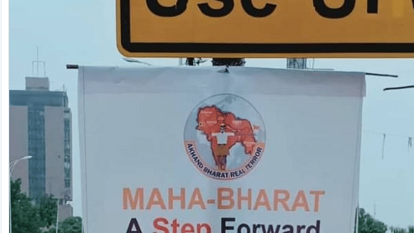 'Akhand Bharat Real Terror' banners appear near Pak Parliament