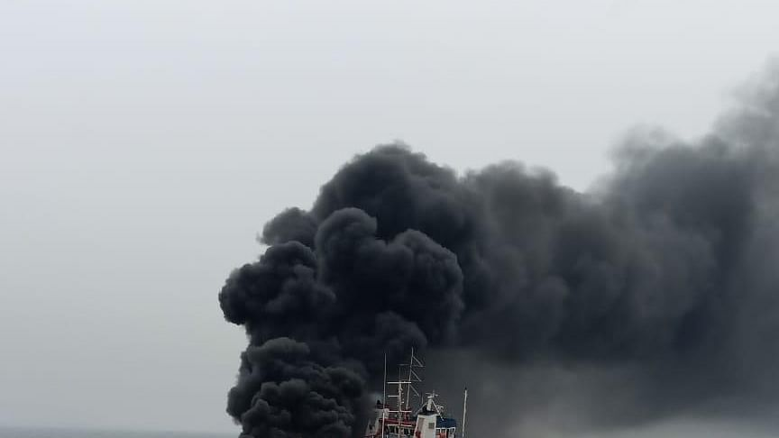 Fire on Coast Guard vessel, one missing, 28 rescued