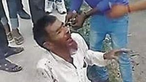 Screenshot of Pehlu Khan's lynching video (Photo courtesy: social media)