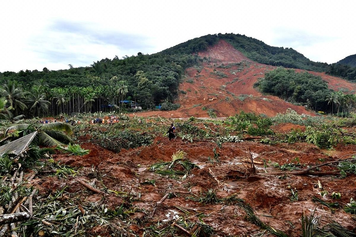 The site of the landslide