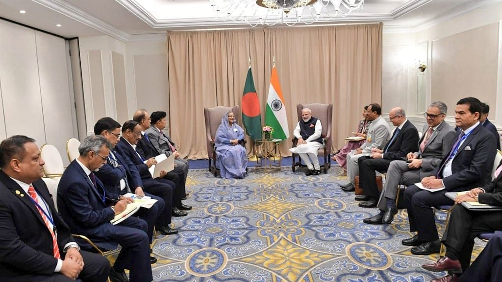 Prime Minister Narendra Modi meets Prime Minister Sheikh Hasina on the sidelines of UNGA 74 at United Nations on Sep 27, 2019