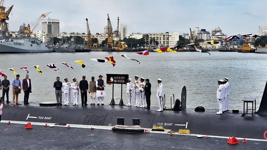 Defence Minister Rajnath Singh commissions India's second Scorpene-class attack submarine in Mumbai on Saturday