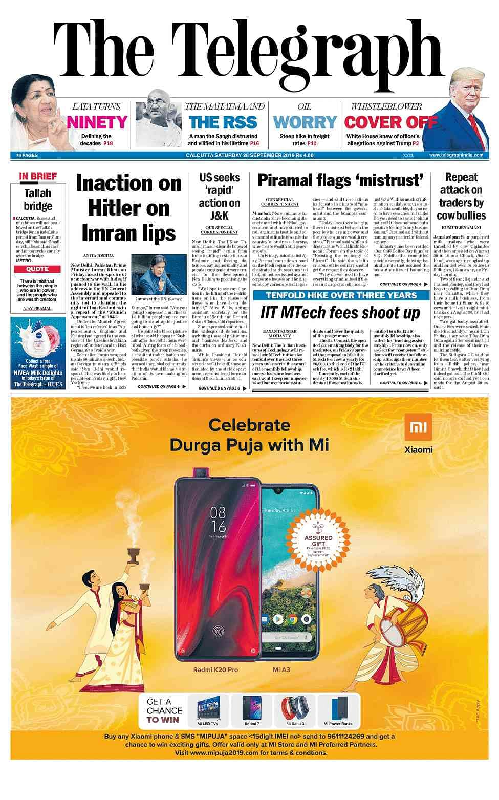 Front Pages This Morning - September 28, 2019