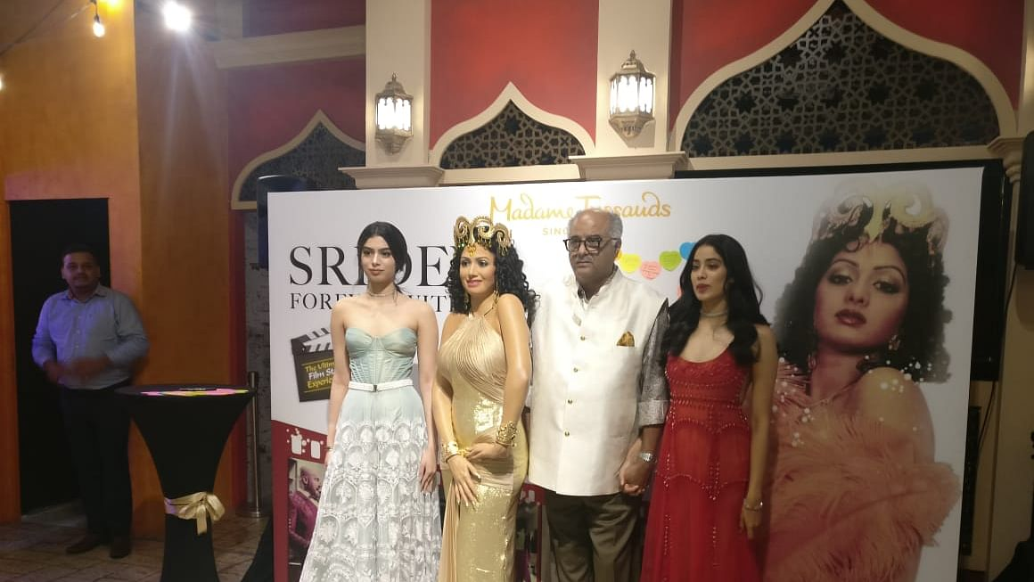 Boney Kapoor along with daughters Janhvi and Khushi unveil Sridevi's statue at Madame Tussauds in Singapore