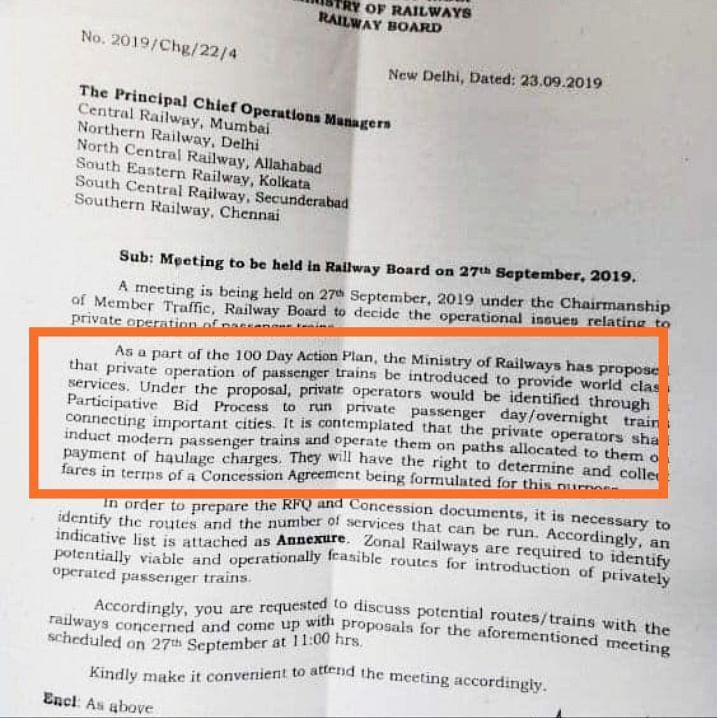 Modi government set to privatise 50 railway routes; private players will have right to determine fare