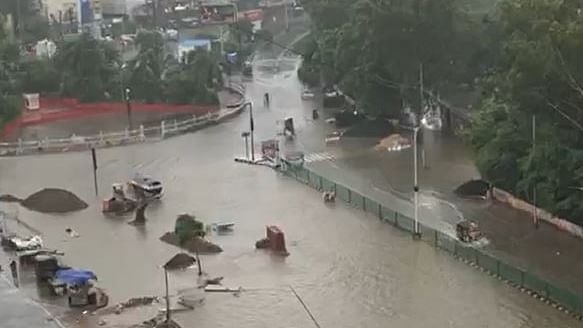 A flooded road in Patna after 48 hours of continuous rains, on Sep 28, 2019 (NH photo/Zaheeb Ajmal).