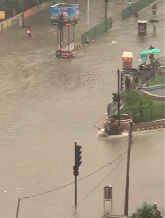 A flooded Patna road on Sep 28, 2019 (NH photo/ Zaheeb Ajmal)