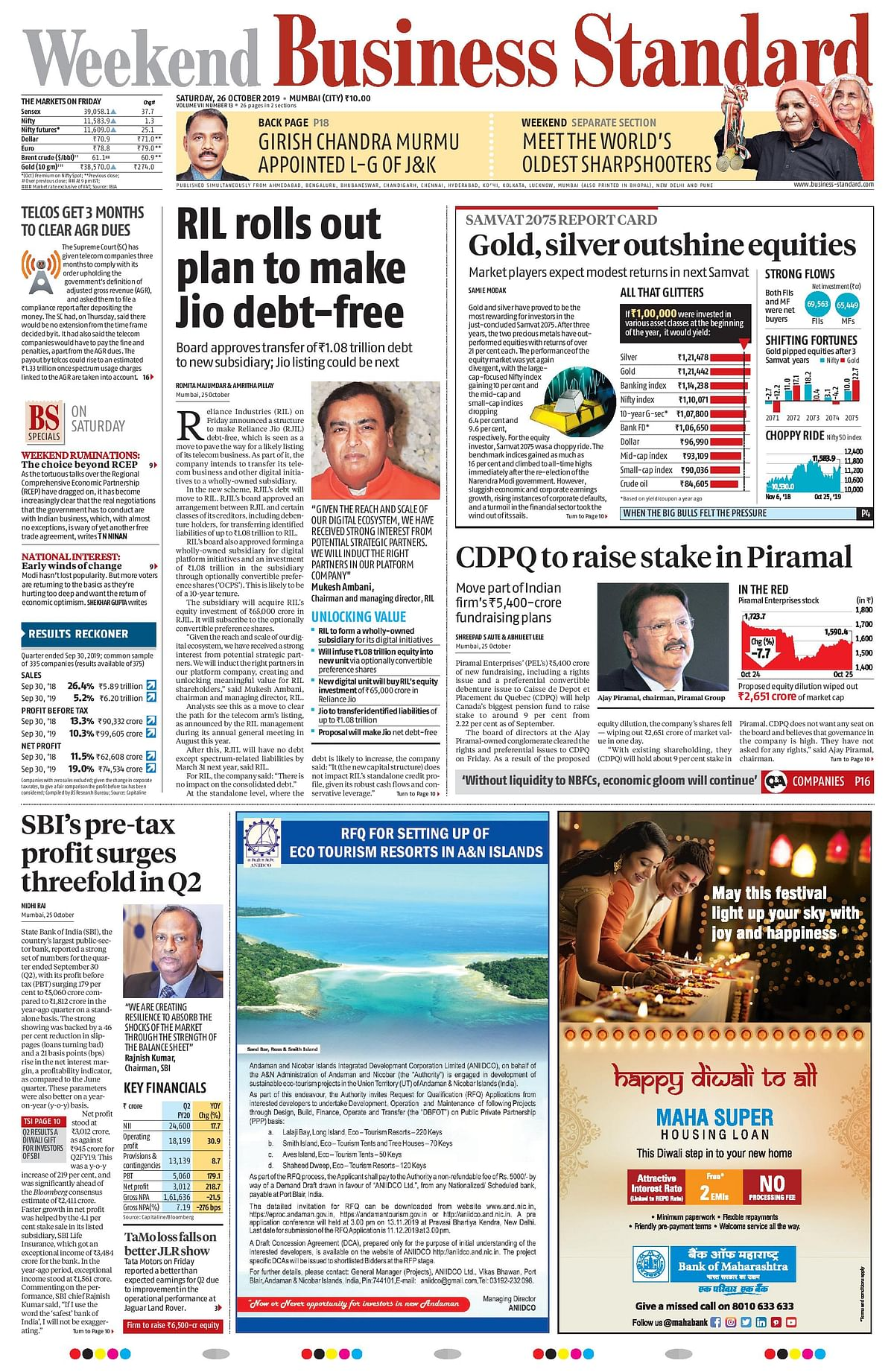 Front Pages This Morning - October 26, 2019