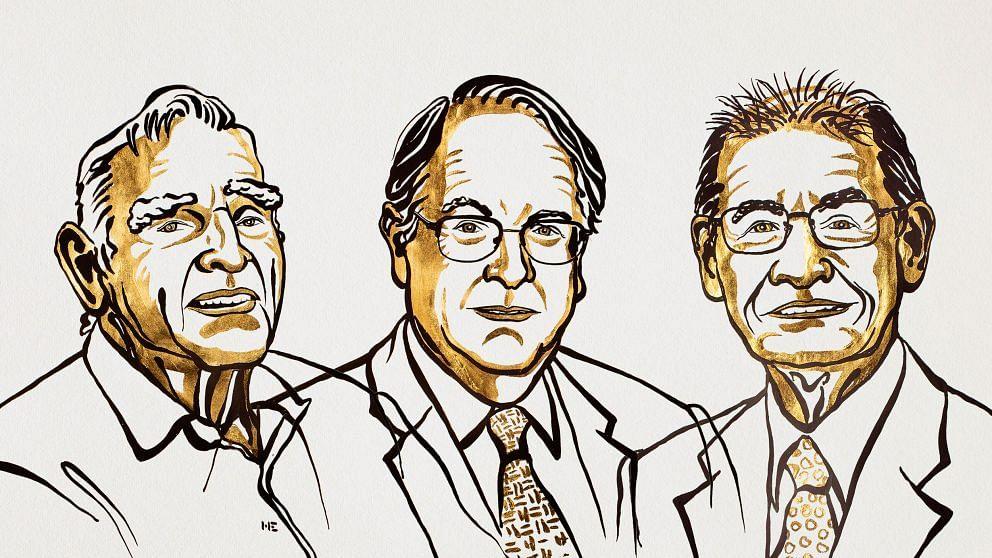 (L-R) John Goodenough, Stanley Whittingham and Akira Yoshino.