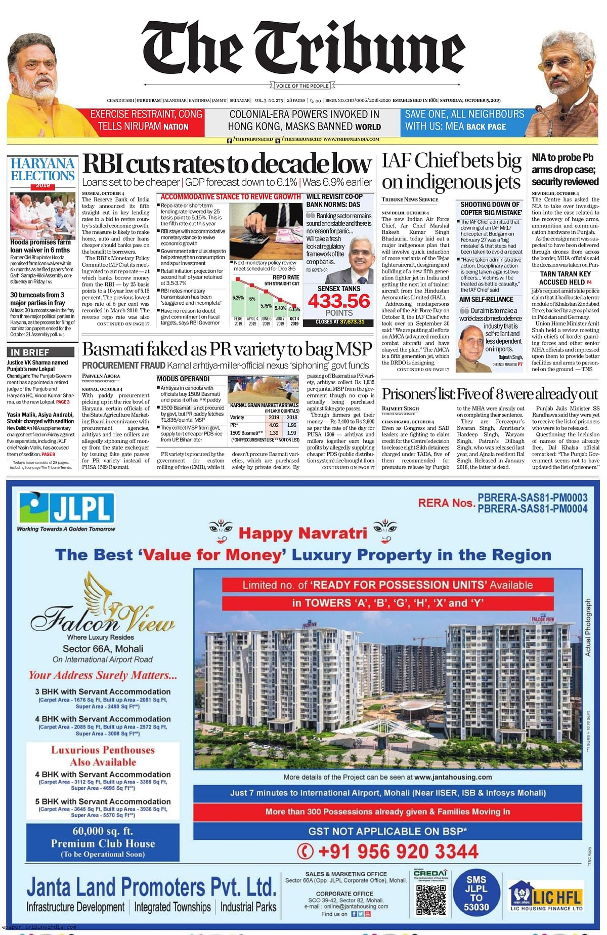 Front Pages this morning- October 5, 2019