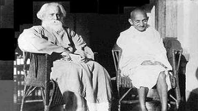 Gandhi with Tagore