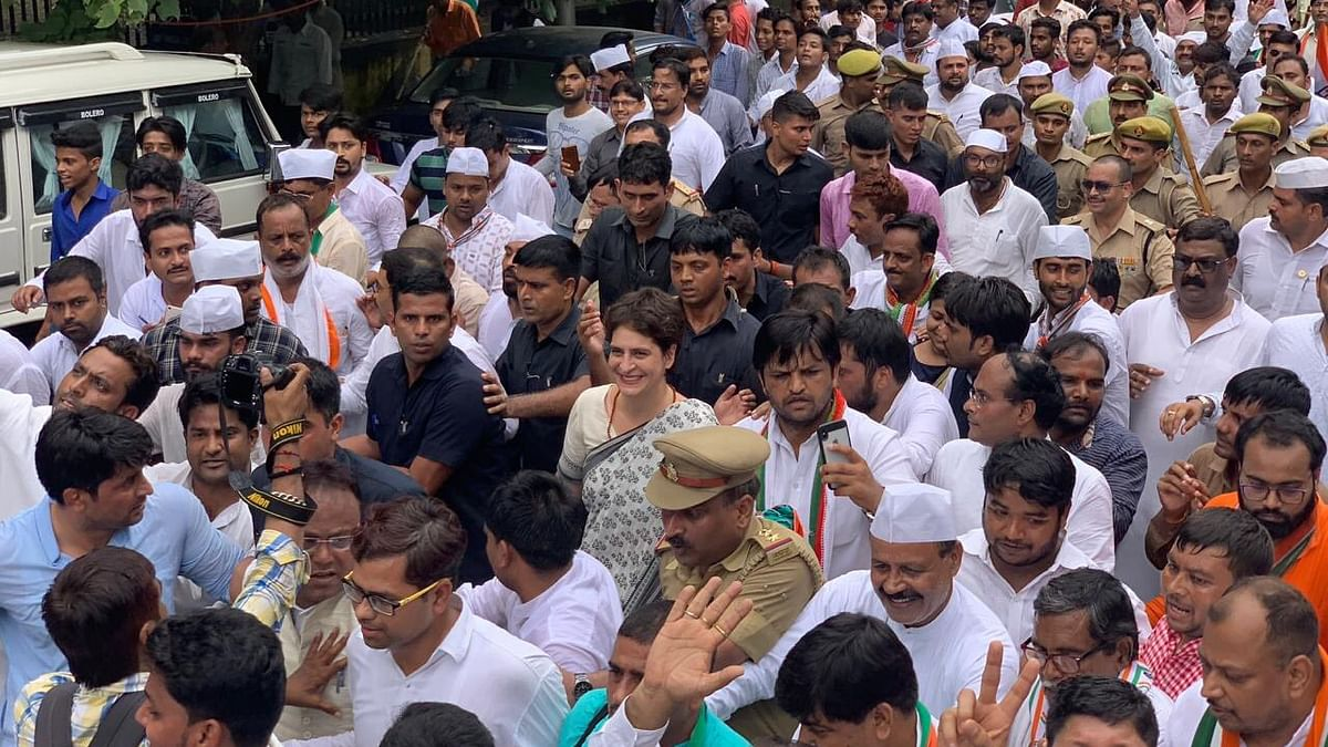 Congress general secretary Priyanka Gandhi leading a padyatra in Lucknow on Gandhi Jayanti on Wednesday, Oct 2, 2019 (Photo courtesy: UP Congress)