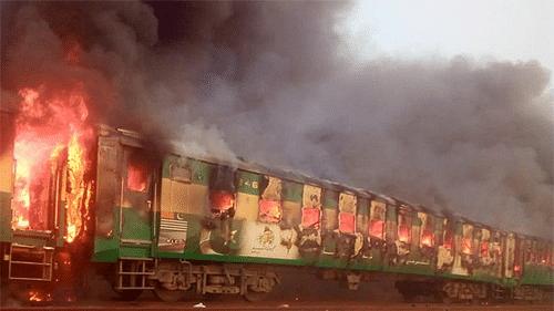 65 killed as fire breaks out in train in Pakistan
