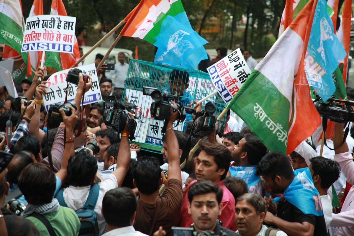 The Indian Youth Congress and NSUI activists stages protests in New Delhi against BJP government's misuse of central agencies (Photo courtesy: AICC)