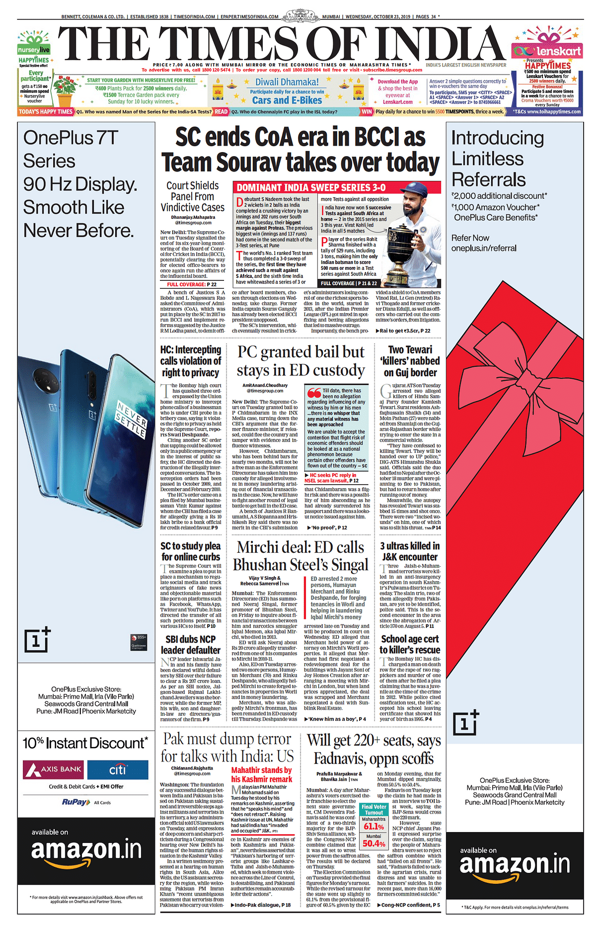 Front Pages this morning - October 23, 2019
