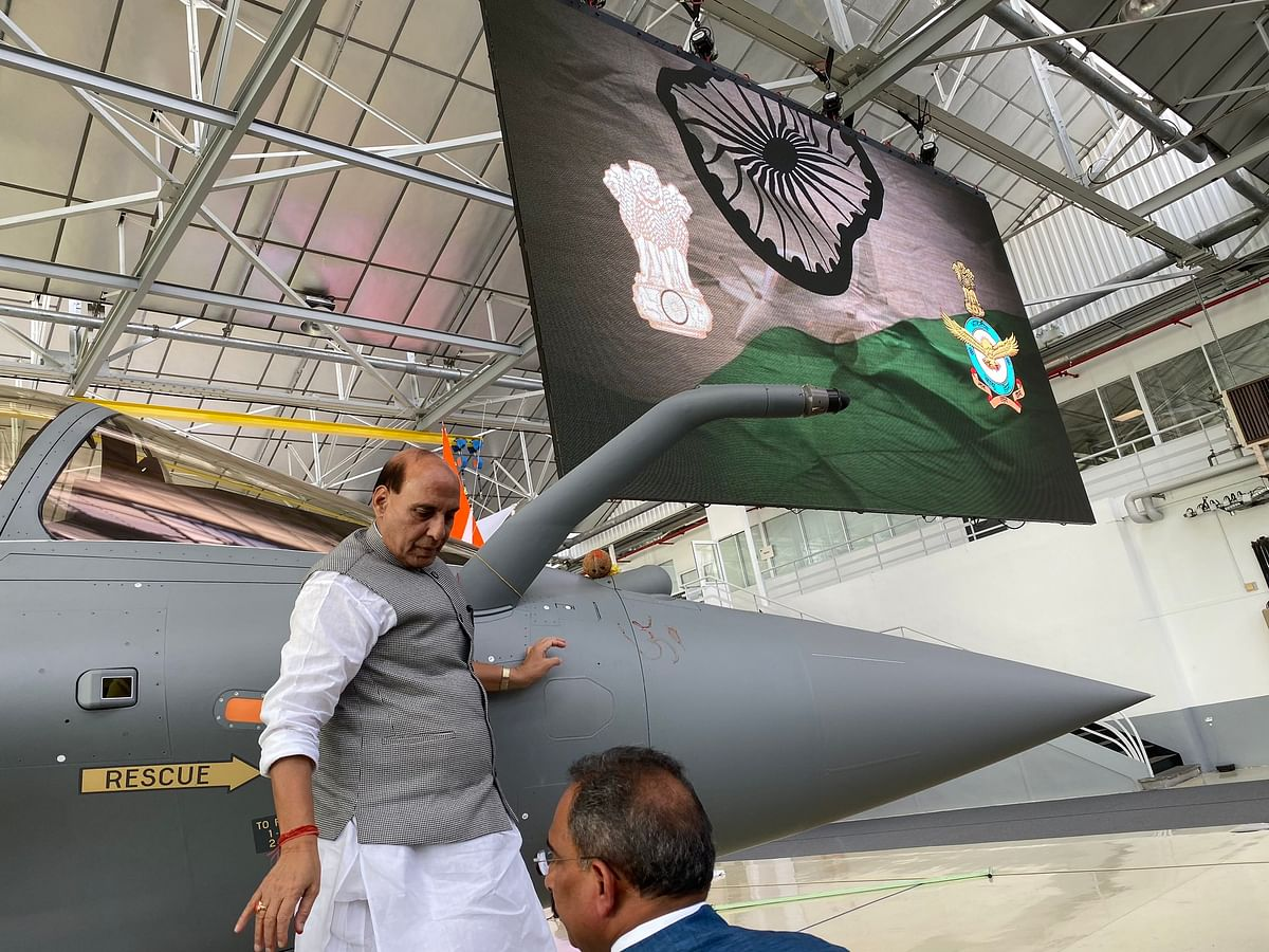 Lemons and 'Om' to ward off evil as Rajnath Singh takes delivery of Rafale jet