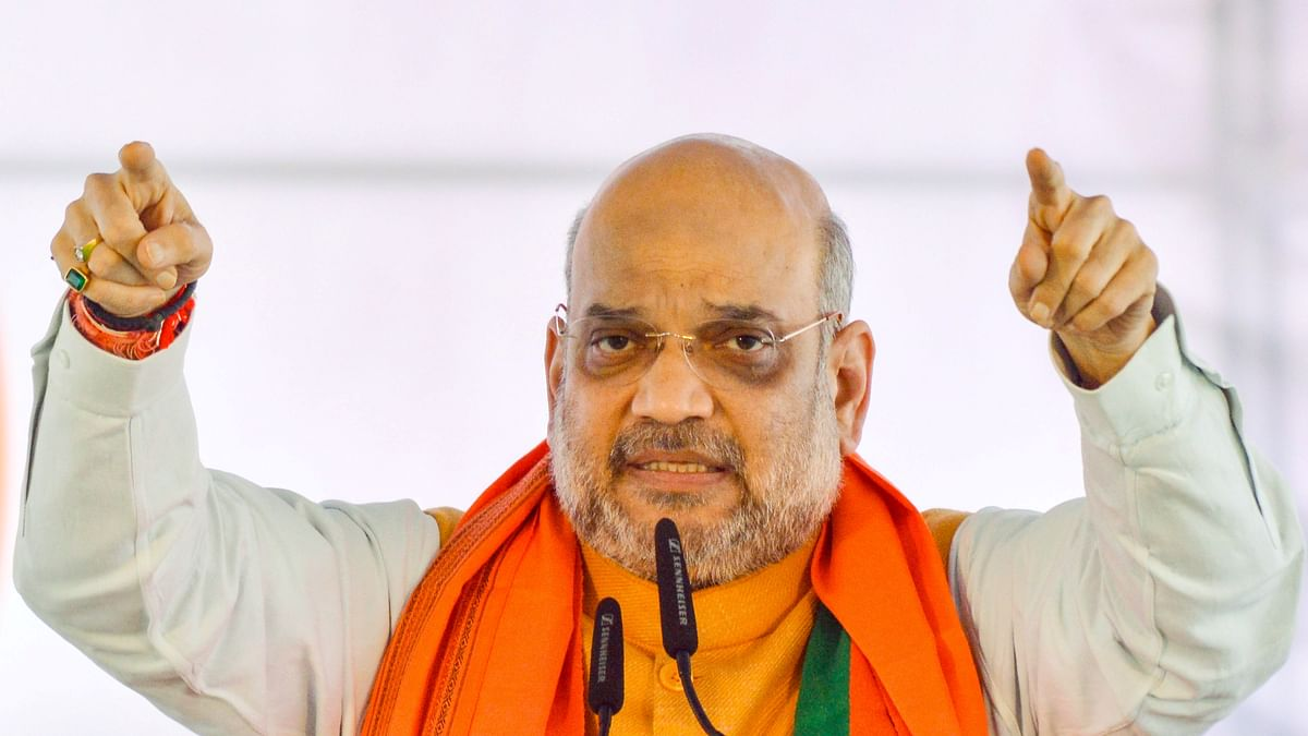 Home Minister Amit Shah addresses a public meeting ahead of Maharashtra Assembly election, in Karad (PTI Photo)