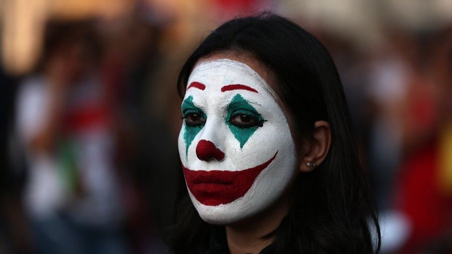 Lebanese protester dressing up as Joker (Photo courtesy: social media)