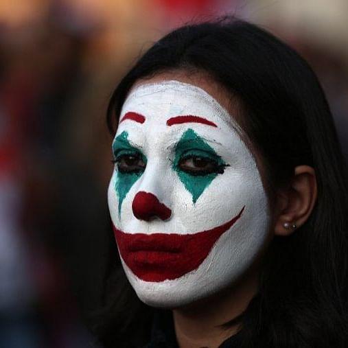 Lebanese protester dressing up as Joker (Photo courtesy: social media)