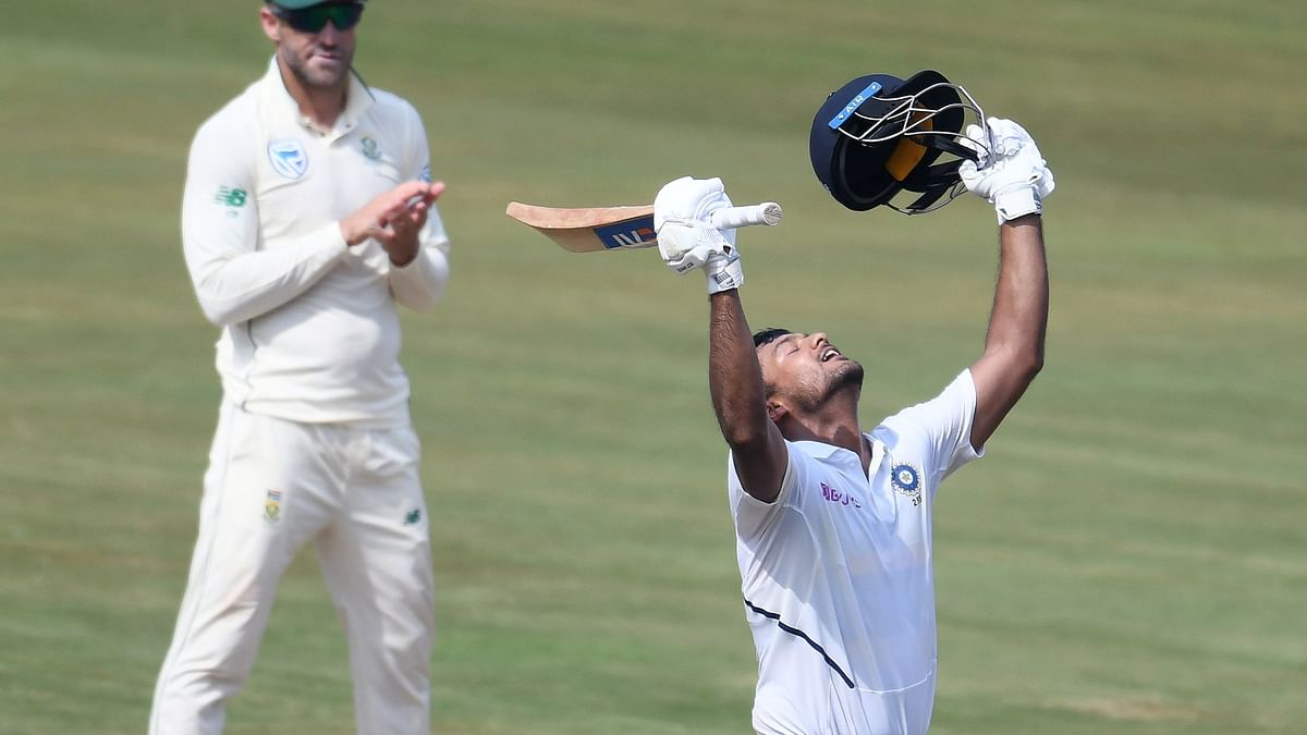 Mayank powers India to 273/3 on day one