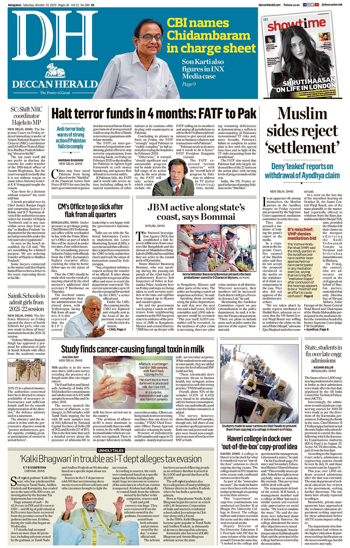 Front Pages This Morning - October 19, 2019