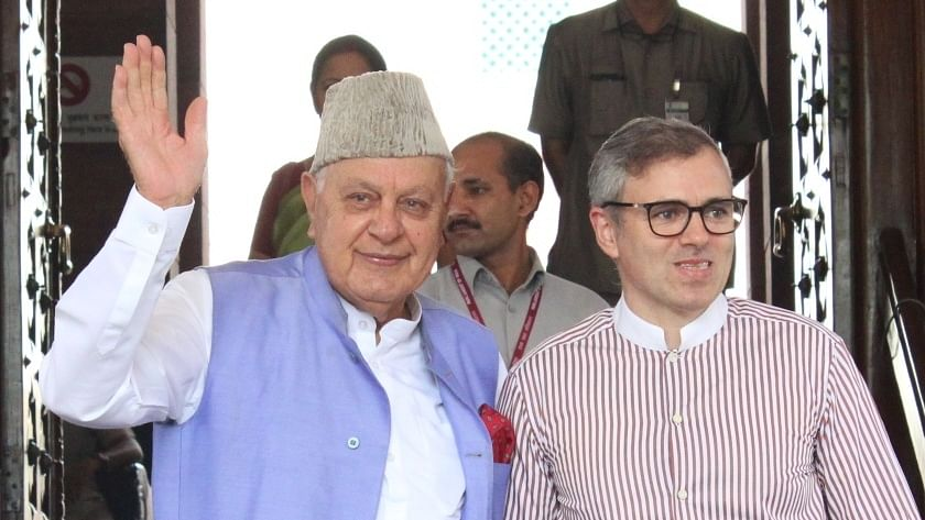 National Conference (NC) leaders Farooq Abdullah and Omar Abdullah
