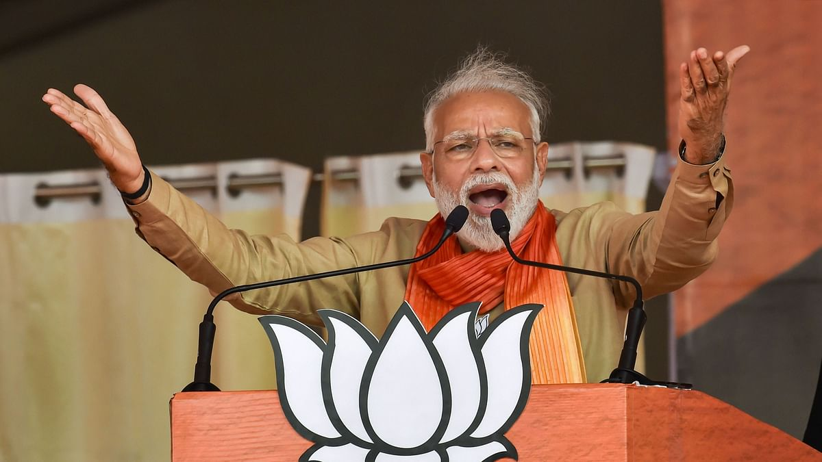 Prime Minister Narendra Modi addresses an election campaign rally ahead of Haryana Assembly elections, in Charkhi Dadri, on Tuesday (PTI Photo)