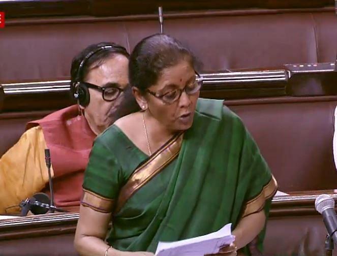 Nirmala Sitharaman replying to a debate in Rajya Sabha on country's economic situation, on Wednesday Nov 27, 2019.