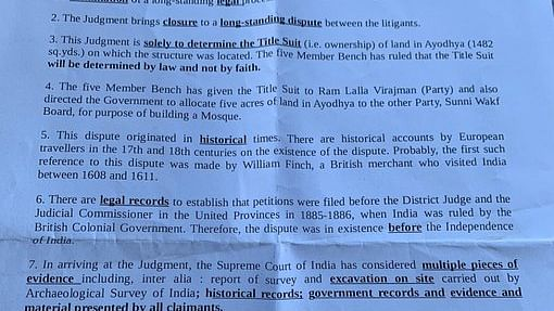 MEA 'brief' on Ayodhya verdict skips mention of 1992 mosque demolition