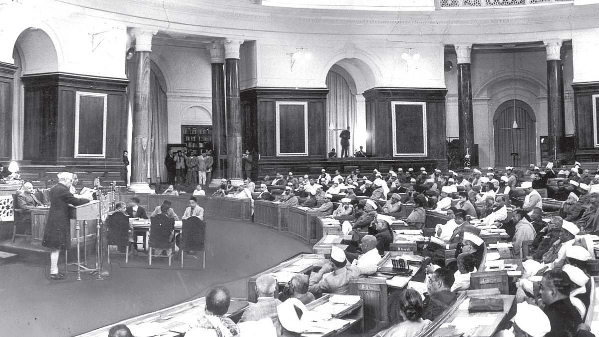 Jawaharlal Nehru moves the resolution for an independent republic in a historic moment at the Constituent Assembly in New Delhi on February 8, 1947
