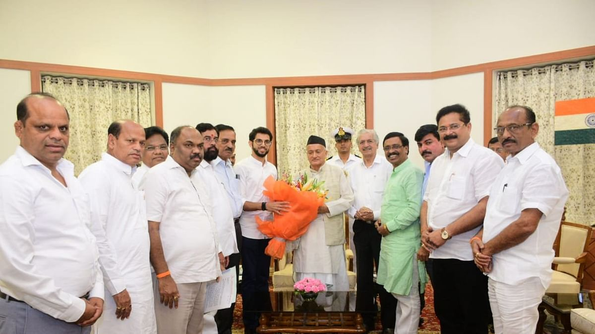 A Shiv Sena delegation meets Governor BS Koshyari at Raj Bhavan in Mumbai on Monday. The Governor turned down Sena's request for 48 hours time to form the govt and has invited NCP now.