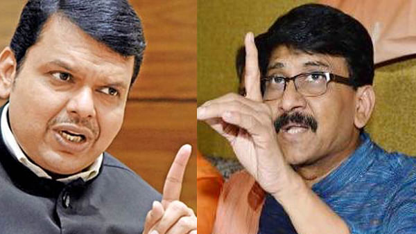 BJP's Maharashtra CM Devendra Fadnavis and Shiv Sena leader Sanjay Raut (right). The alliance partners have been in a tug of war over CM post.
