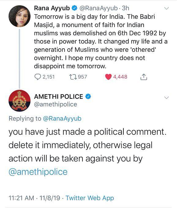 Journalist Rana Ayyub gets UP Police warning ahead of Ayodhya verdict