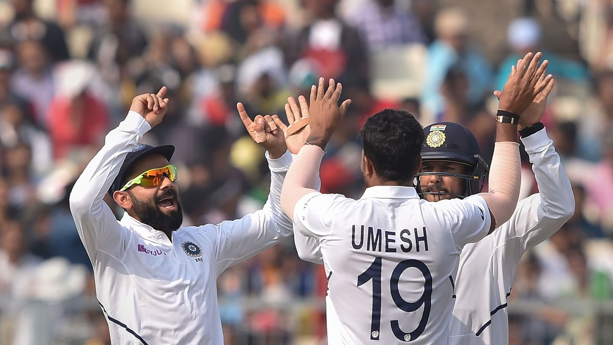 Indian players celebrate after winning the 1st pink ball Test match against Bangladesh at Eden Garden in Kolkata, Sunday, Nov 24, 2019. (PTI Photo)