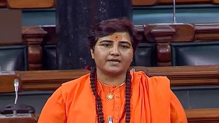 BJP MP Pragya Thakur speaking in Parliament (file photo, PTI)