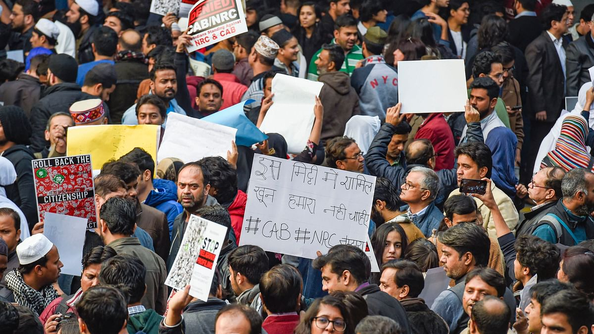 Protesters at Jantar Mantar in New Delhi demanding withdrawal of Citizenship Amendment Act and proposal to extend NRC across India, on Saturday, Dec 14, 2019. (PTI Photo)