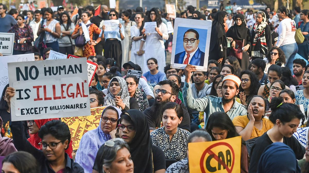 Protesters participate in a rally against the amended Citizenship Act and NRC, at August Kranti Maidan in Mumbai on Thursday (PTI)